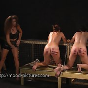 Two female slaves was tied and caned hard