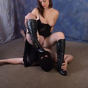 Submissive sissies love to acquire dominated by a woman in leather boots