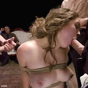 Kinky lass bondaged in public