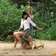 The chicks punished a submissive boy outdoor