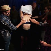 The big breast slaveslut was tied and fucked in the bar