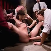 Horny lass gets public bondage