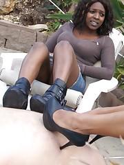 Darksome ladies stick their thrall take sharp heels