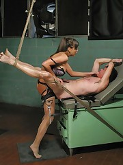 Mistress tied a malesub`s cock, smothered him, fucked him