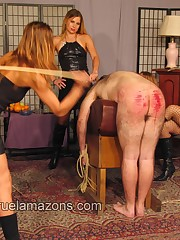Four mistresses punished malesub by canes