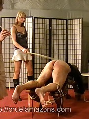 Two mistresses caned malesub