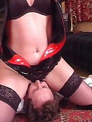 Fetish wife sits on husband