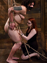 Slave was humiliating and fucked by young slut in glasses.