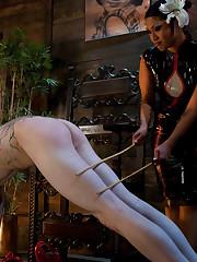 Man has to lick feet and vagina of his mistress.