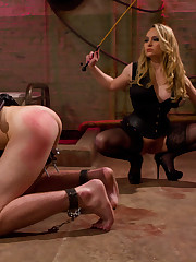 Spanked man has to lick his mistress's feet.