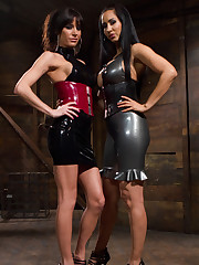 Two latex goddesses pumped malesub` ass and smothered him by pussy and ass