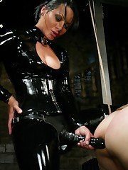 Sandra Romain worn in black latex is fucked her slaveboy`s ass hard
