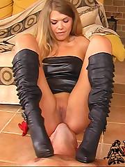 Black boots femdom with mistress Alysha