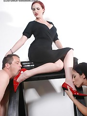 Male and females slaves worship mistress` red heel and feet
