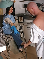 Nurse Jade enters the doctor's exam room to discuss a patient's outstanding debt ....