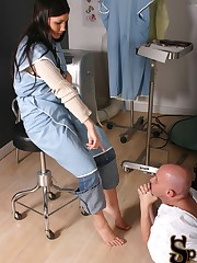 Nurse Jade enters the doctor's exam room to discuss a patient's outstanding debt with the do....