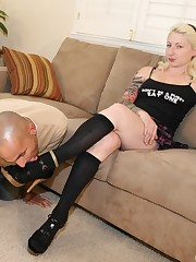 The bald slave licked feet and shoes