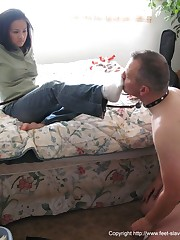 Submissive husband is licking toes