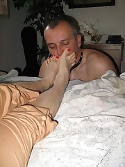 Male is licking bare feet