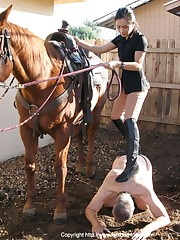 Slave helped mistress to get on horse