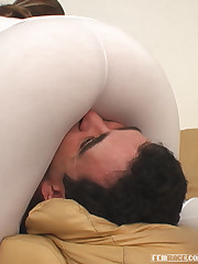 Dana performing a face farting scene wearing a sexy white spandex.