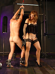 Mistress delivers painful pleasure stuffing a dildo up her slave`s ass and sucking cock to orgasm