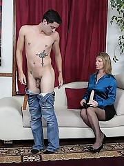 Angry blonde strapon fucks her man's asshole