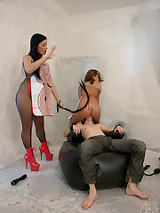 Incredibly Sandra coupled with Victoria Blaze seducing coupled with humiliating a guy