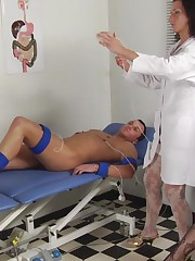 Tattooed guy caught by two med dommes