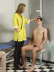 Imperious medical women examine a nude guy