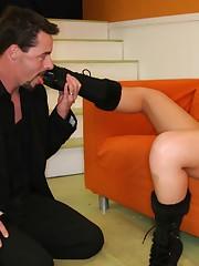Brunette chick sat on slave