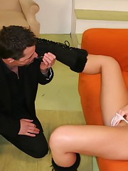 Cool chick sat on slave