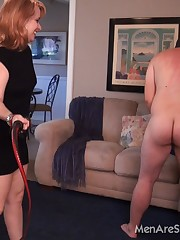 Cruel lesson of whipping male slave given by a Mistress