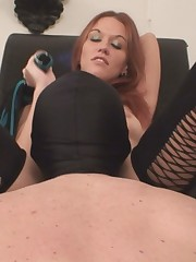 Happy slave was let to lick his Mistress's pussy