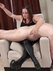Disobedient slave got badly spank by his Mistress