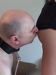 While chick was talking by phone slave kissed her ass.