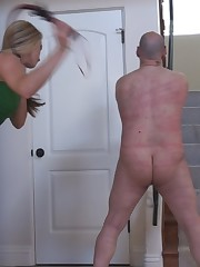 Very angry mistress beaten her bounded slave hard.