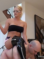 Cool Mistress prefers riding her slave like a horse
