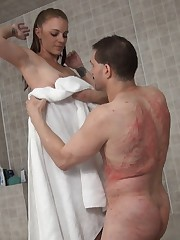 Naked slave drying his Mistress with a towel