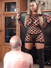 Mistress whipping her slave for bad footwear licking