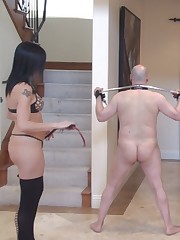 Disobedient slave has to be punished by good whipping