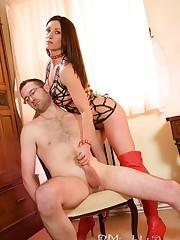 Mistress dominated man and gave him handjob