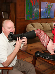 Older dude worships redhead's boots and feet