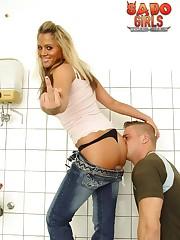 Slaveboy kissed blonde dominatrix` ass