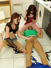 Two pissed off nubiles cruelly castigate some unlucky plumber