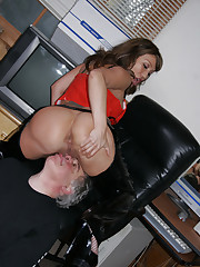 Sexy slut smothering older dude