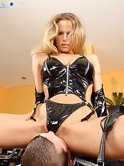 Mistress in sexy lingerie was sitting at man's face.