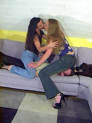 Lesbian dominators want their smothered sub watch them kissing