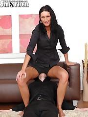 Brunette girl  sat on slave