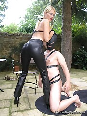 Leather Jeans mistress humiliated slaveboy